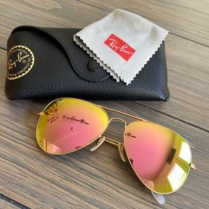 Ray-Ban Aviators Pink/Green Flash Excellent! Large